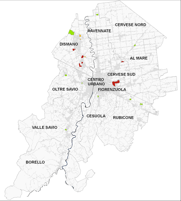 planimetria del territorio comunale con individuate le aree produttive sottoposte a PUA